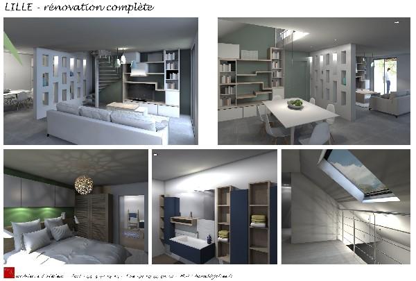 Landas; agencement RDC, meubles sur mesure, cloison métallique.Projet de conception et maitrise d'oeuvre.